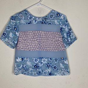 Topshop- Blue Floral Semi Sheer Blouse size 0